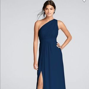 David's Bridal Long One-Shoulder Chiffon Dress